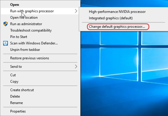 Change default graphics processor to Fix Nvidia GeForce Experience Black Screen
