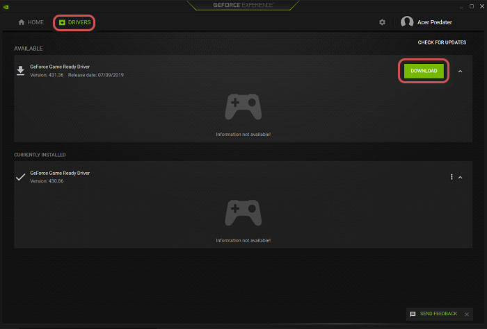 Download drivers to Fix Nvidia GeForce Experience Black Screen